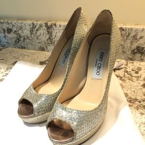 Jimmy Choo 120mm Champagne Glitter Pumps